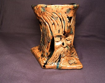 Raku Fiber Arts Tools or Knitting Needle Holder: A Tree Herder