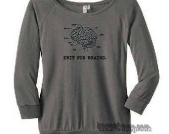 Knit for Brains 3/4 Sleeved Tee: Available at Knerdshop.com