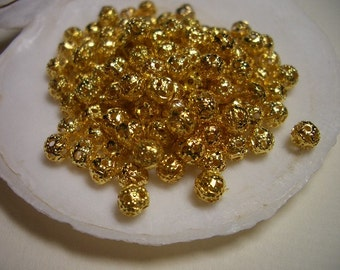 Gold beads 4mm, 100 delicate filigree gold beads, gold plated beads, spacer beads, 4mm beads, metal beads, gold, metal beads, 4mm beads