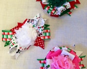 Christmas Mickey Ribbon Bow Clips Set of 3