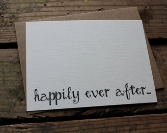 Wedding Thank You Cards with Envelopes / Happily Ever After / Rustic Calligraphy Font / Fairytale Wedding / Set of 10