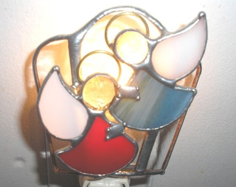 LT Stained glass 2 Angels night light lamp slate blue and red dresses with white opal wings