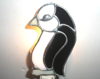 LT Stained glass Penguin black white night light lamp made with solid black -not see through-opal glass