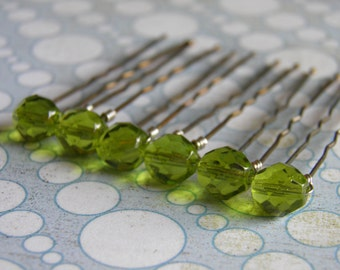 6 Light Green 8mm Crystal Hair Pins