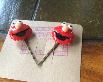 Set of 2 bobby pins red character like handmade bobby pins  unique furry red face Animal