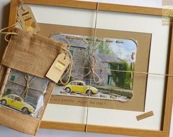 Personalised Wall Art - Yellow VW Beetle - Love Bug Framed Keepsake - Handmade in Ireland