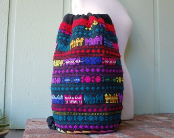 Vintage Colorful Backpack Back Pack Sackpack Rucksack Pouch Hippie Boho Hobo Bag Essential Pack Hiking Vegan Festival Kid Gypsy Aztec Woven
