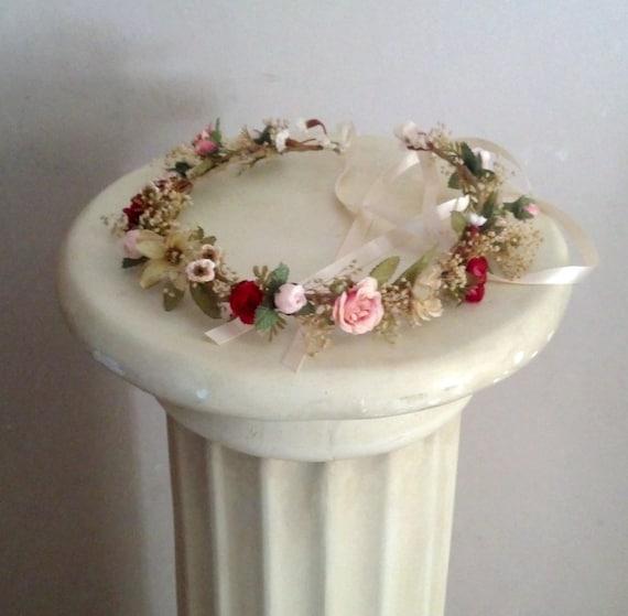 Flower Crown Boho Halo Ivory Champagne Hair Wreath Bridal Floral