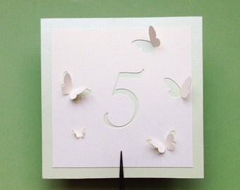 Table Numbers, Butterflies Themed Wedding, Butterfly Summer Collection, Romantic Event Favors, Cutout, Scrapbook, Papercut by Naboko