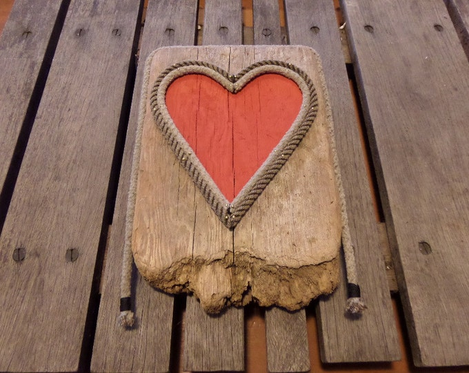 Drift wood with Rope Heart Shape  Painted Red Inside Natural Rope Wall Art RE-purposed Eco-Friendly