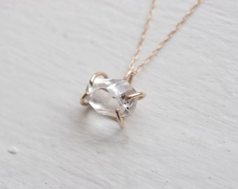 Herkimer Diamond Solitaire Solid 14k Recycled Gold Necklace | Prong Set Herkimer Diamond Necklace