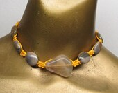 Golden Yellow hemp choker necklace with grey quartz gemstone and brown marble stone. Long ties in back. HCK-014
