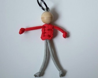 Stocking Stuffer, 550 Paracord Person Red and Grey, Geocaching Swag, Fun Key Fob