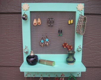 Caribbean blue jewelry organizer with white flowers - earring holder - jewelry holder - woodworking - home decor - wall decor - jewellery