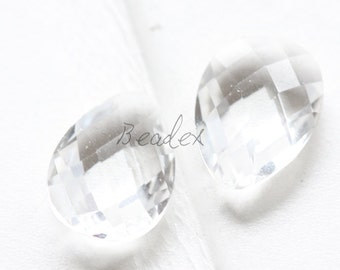 2 Pieces / Hand Cutted Teardrop / No Hole / Crystal Glass / Crystal 14.15x10.10mm (3005C-S-182)