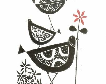 Black Birds Linocut - Original Lino Print, Black & White and Red Scandinavian Style Lino Block Signed