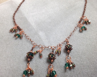 Emerald green crystal and copper chain necklace