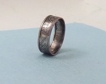 Copper-Nickel coin ring  Ohio State quarter year 2002 size 10  jewelry unique  gift FREE SHIPPING