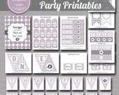 Purple Elephant One Year Party Printables  - (27) PDF Printable Files - Instant Digital Download