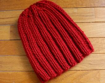 Hand-Knit Chunky Fisherman's Beanie-- Mens / Womens, Red