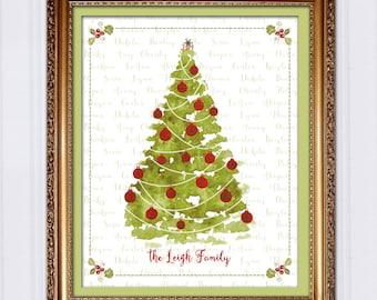 Personalized Christmas Gift, Custom Christmas Tree, Gift for Mom, Gift for Grandma, Gift For Grandparents, Last Minute Printable Gift