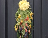 Spring Wreath Summer Wreath Teardrop Vertical Door Swag Decor Floral Door Decoration Indoor Outdoor Decor Yellow Peach Purple Swag, Swag