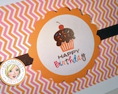 Happy Birthday Cupcake - Pink and Orange Chevron with orange scallop and chocolate grosgrain ribbon - Invitations - Note Cards