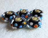 5 Raised Embellished Murano Lampwork Beads