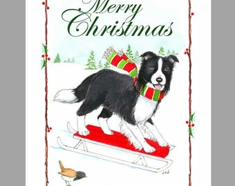 Border Collie Christmas Cards, Box of 16 Cards and 16 Envelopes