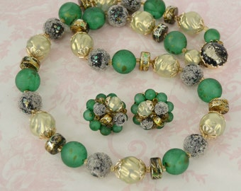Vintage Necklace and Earring Set  in Green with Sugar Beads