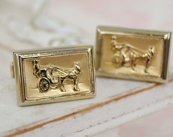 Vintage Cuff Links with a Horse Drawn Buggy