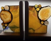 Golden Agate Stained Glass Bookends in Wood Base