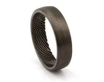 Fingerprint Engraved Ring -  Engraving Wedding Band, Sterling Silver Black Rhodium 6mm