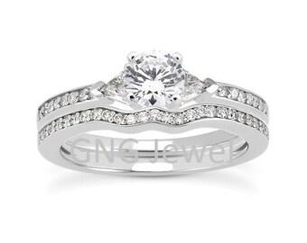 1 carat 6.5mm Round Forever Brilliant Moissanite Solid 14K White Gold Engagement  Ring set ENS4223