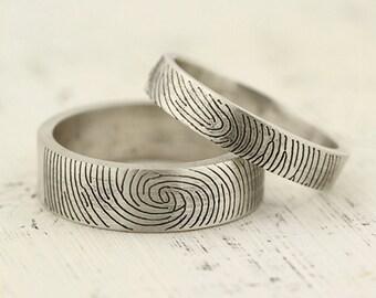 Fingerprint Ring set - Sterling Silver Engraving Wedding Band, flat, 6mm 4mm