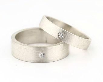Diamond Fingerprint Ring set - Sterling Silver Engraving Wedding Band, flat, 6mm 4mm