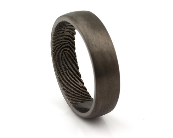 Fingerprint Engraved Ring Engraving Wedding Band Sterling
