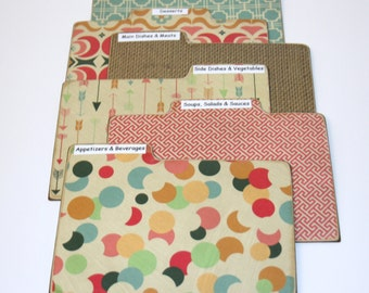 Recipe Divider Tabs, Set of 6, Teal and Coral Recipe Divider Cards, Burlap Recipe Cards, Colorful Recipe Dividers, 4x6 Recipe Divider Cards