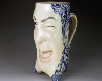 Winking mug, one of a kind stein vase xtra large blue and white with intricate cobalt blue underglaze painting