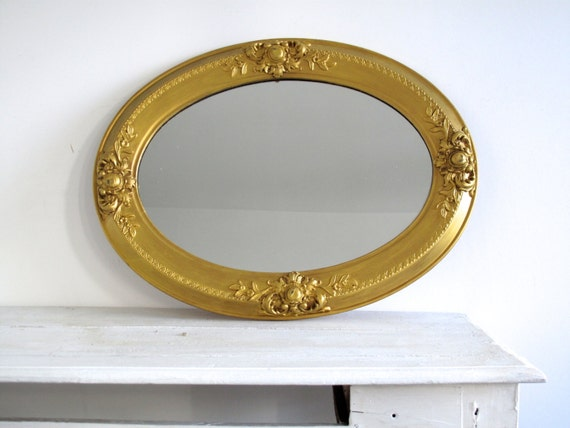 Large Gold Frame Mirror: RESERVED Vintage Oval Wall Mirror Ornate Gold By