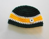 Green Bay Packers Football Beanie Hat/Football Hat (fits newborn to adult)