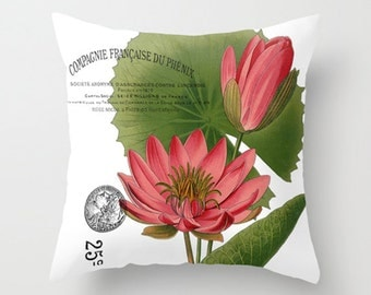 Throw Pillow Cover - Pink Water Lily on Vintage Ephemera - 16x16, 18x18, 20x20 - Pillow case Original Design Home Décor by Adidit