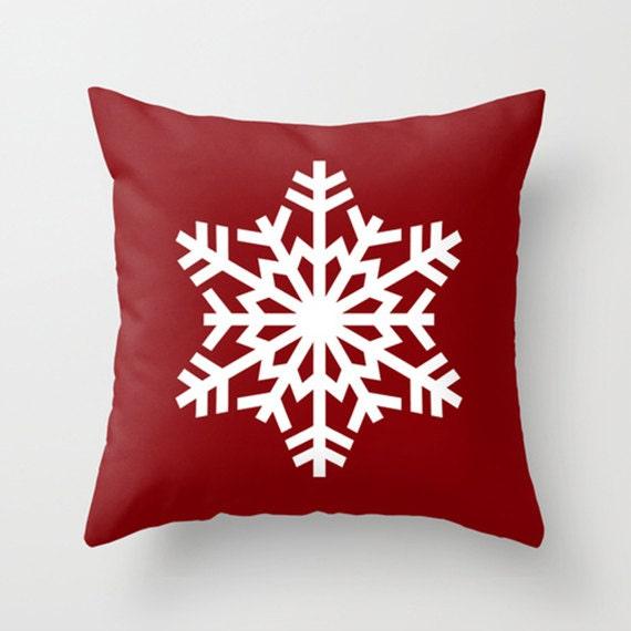 Throw Pillow Cover - Xmas Snow Snowflake - Dark Red White - 16x16, 18x18, 20x20 - Pillow case Original Design Home Décor by Adidit