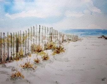 Beach Walk, Print of Original Watercolor Painting, watercolor art, watercolor print, beach art, beach painting.