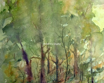 Watercolor Landscape Painting print, art reproduction, watercolor art, landscape painting, forest painting, woodland art, tree art.