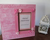 5x7 Granddaughter Themed - Hand Decorated Picture Frame