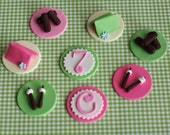 Camping Girly Tents, Smores, Fire, Age and Initial Fondant Toppers for Cupcakes Perfect for an Outdoor Camping Party