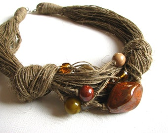 Ceramic Brown - linen necklace