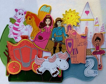 Kingdom small package for girls (15 pieces) - felt toy with magnetic layer on the back