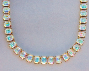 RARE Swarovski Crystal AB Tennis Necklace,Vintage Rhinestone Tennis Necklace,Northern Lights Crystal Aurora Borealis,Pastel Rainbow,Unique